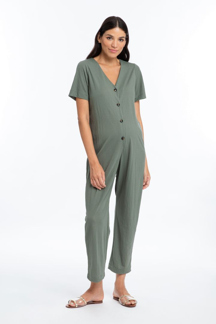 Maternity and Nursing Jumpsuit with Button Strip sage