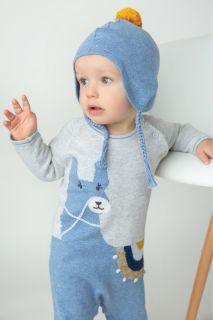 Strick Strampler mit Alpakamotiv blau