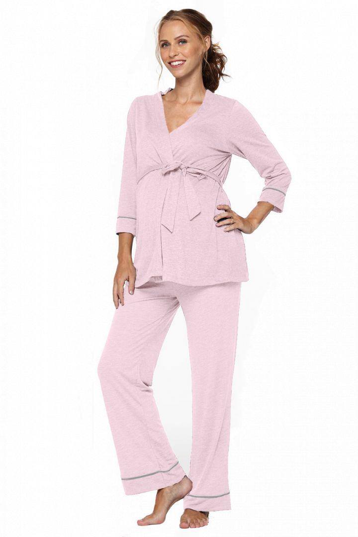 Umstands- und Stillpyjama mit Morgenmantel rosa