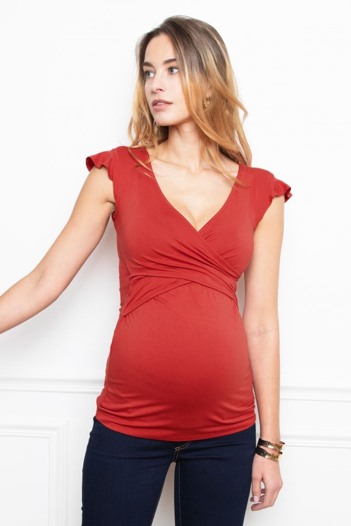 Cross-Over Maternity and Nursing Top red