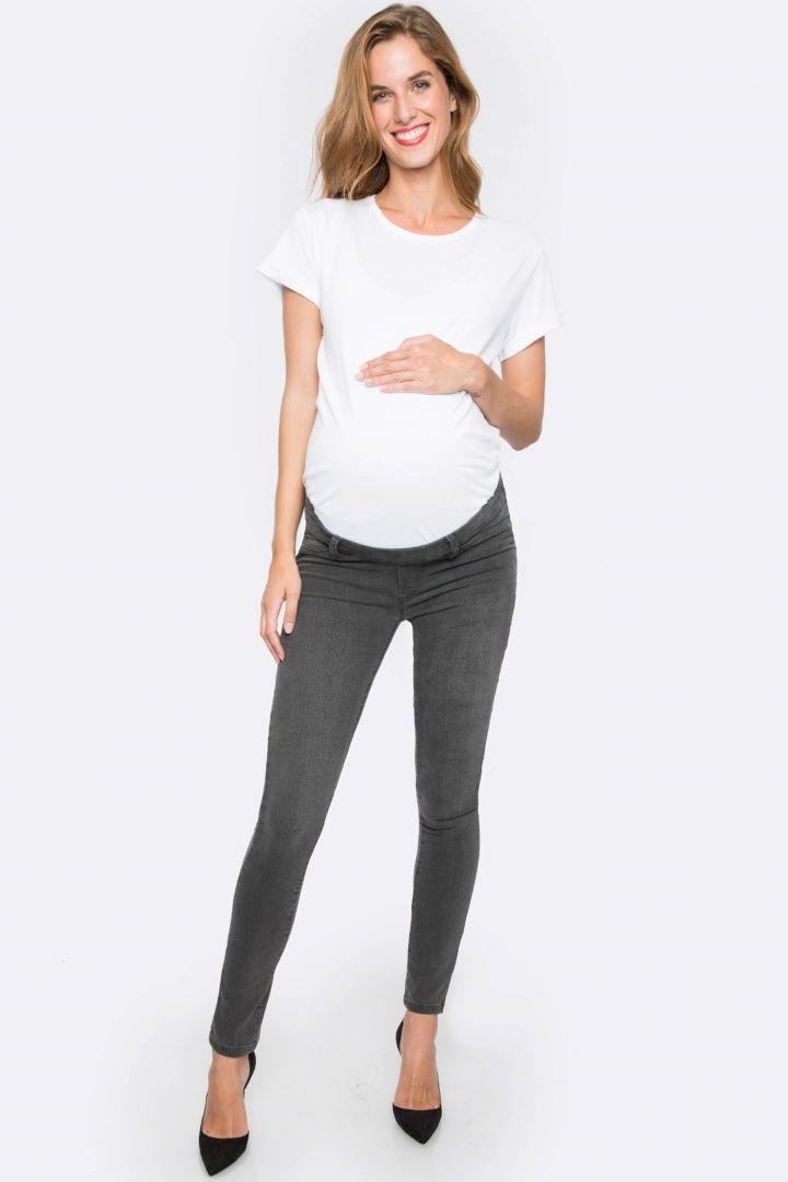 Slim Fit Umstandsjeans mit Unterbauchbund grau