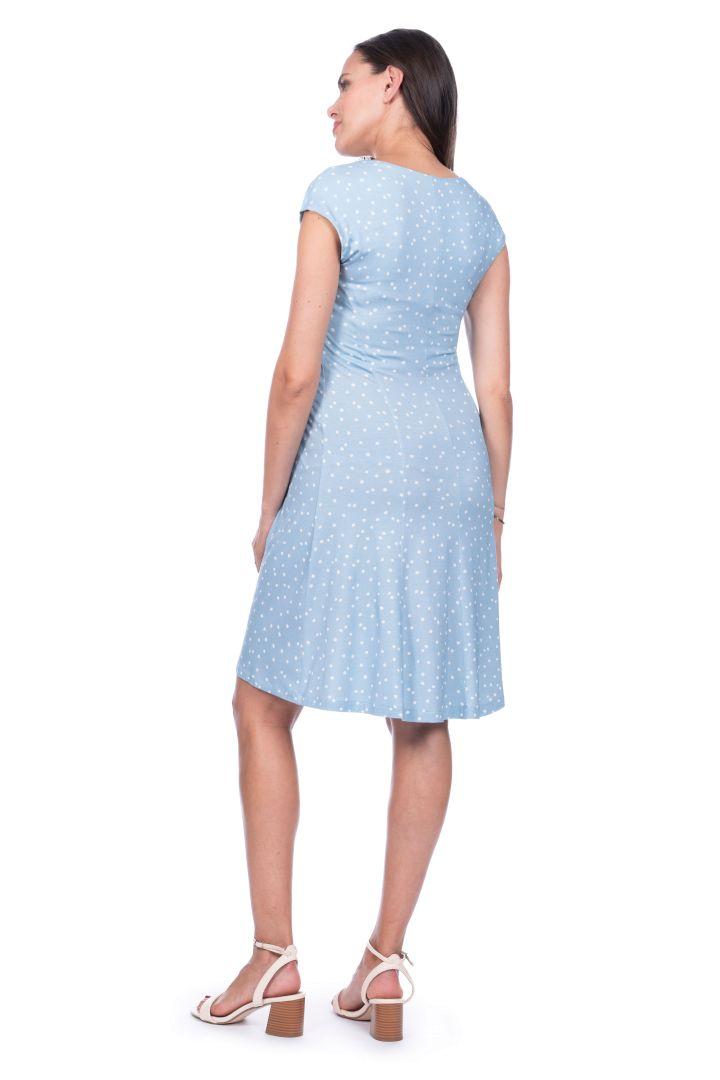 Polka-Dot Maternity Dress, light blue