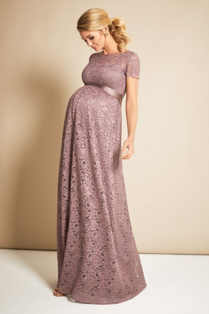 Maternity dress with back cut-out, long, old pink