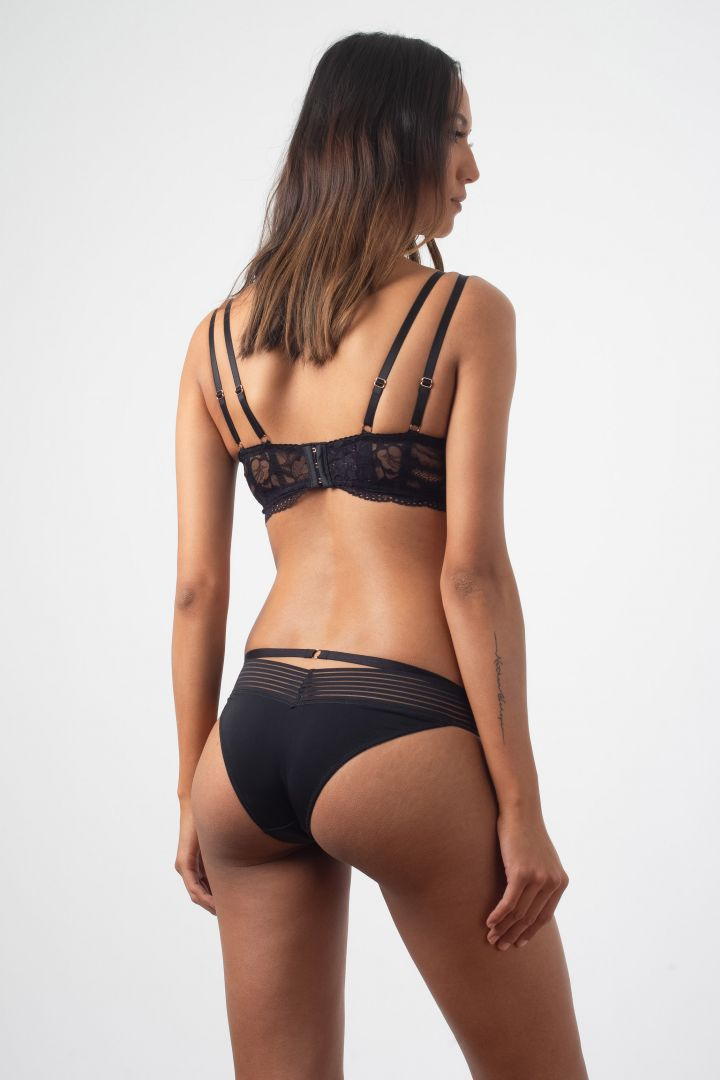Plunge Maternity and Nursing Bra with Lace Back, Black
