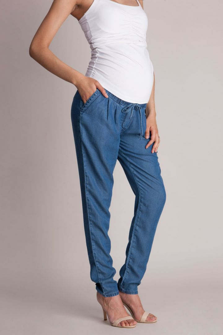 Tencel Chambray Maternity Trousers Denim Look