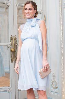Georgette Umstands- und Stillkleid mit Schluppe hellblau