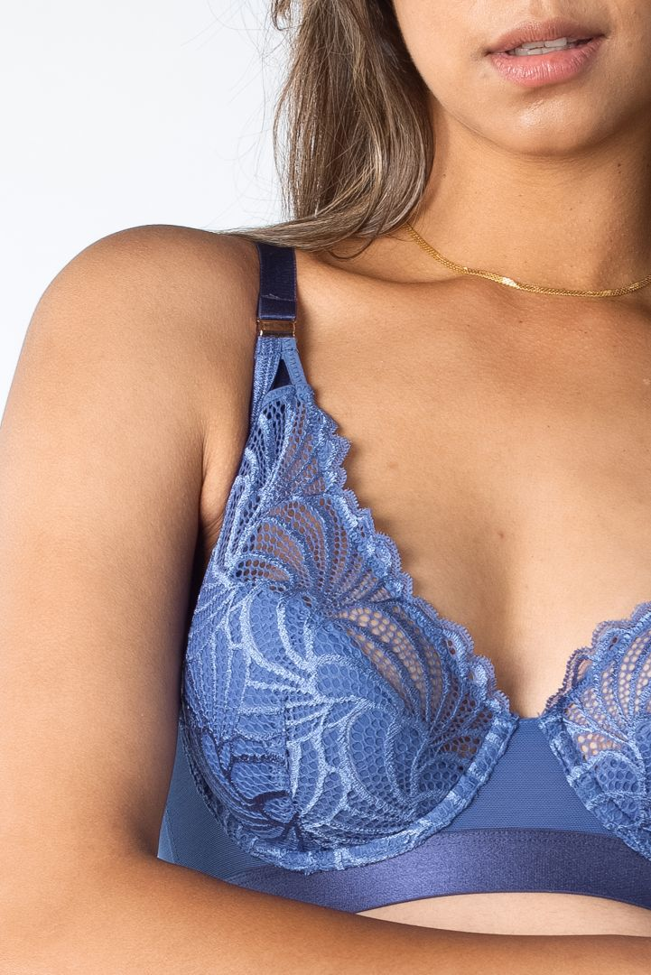 Plunge Maternity and Nursing Bra with Lacce blue