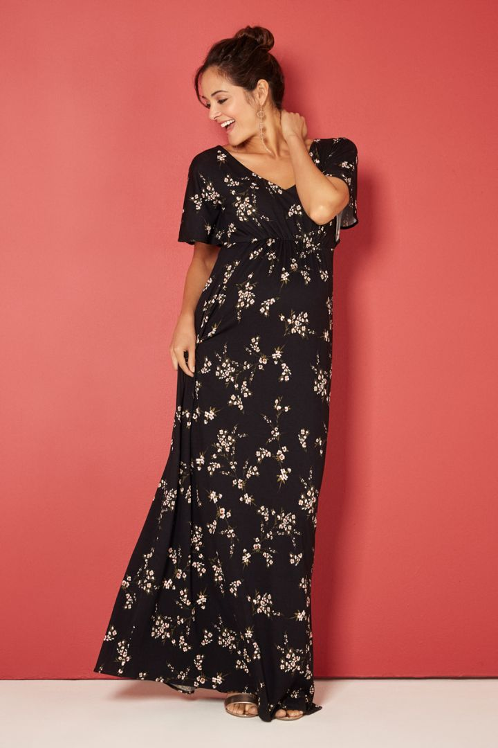 Kimono Maxi Umstandskleid Night Blossom