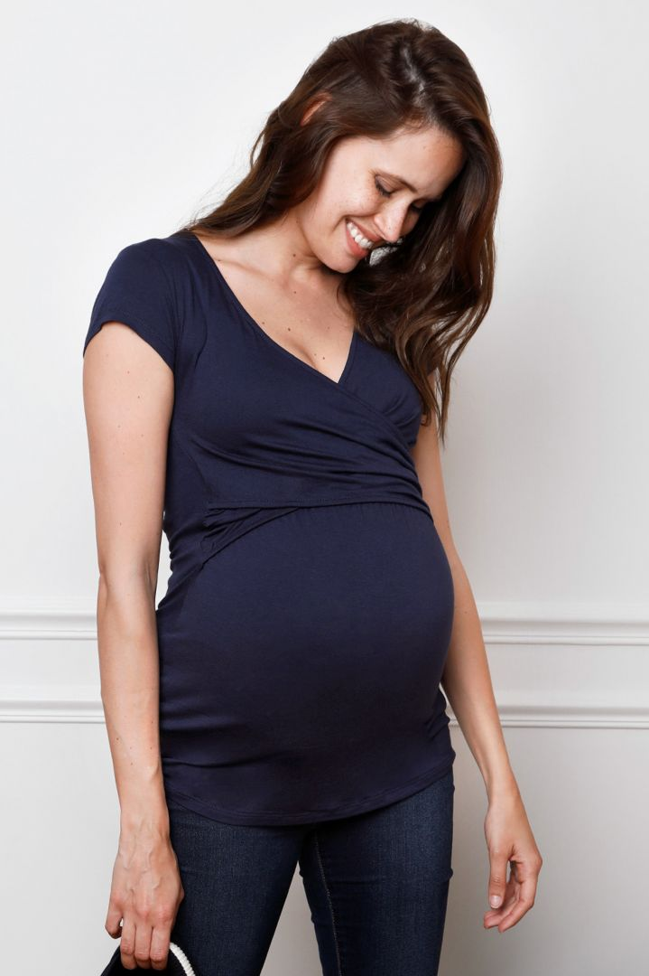 Cross-Over Maternity and Nursing Top navy