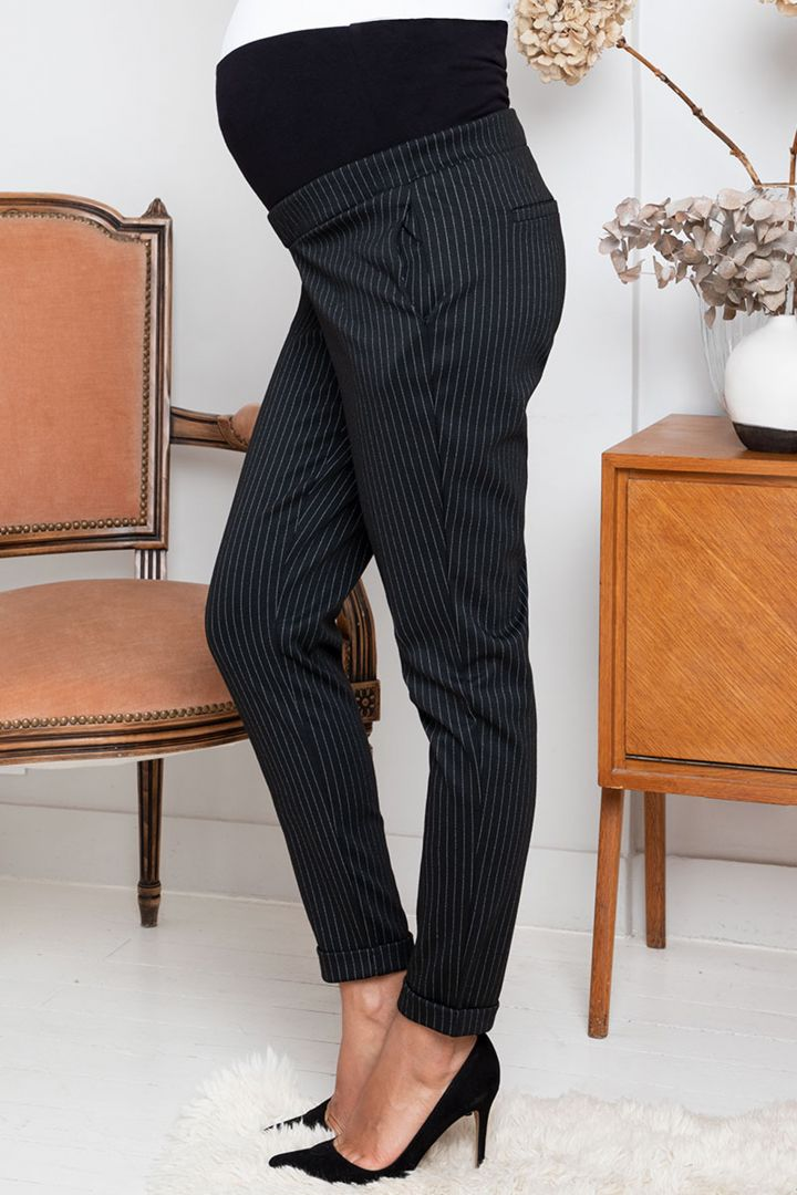 Straight Leg Overbump Maternity Trousers with Pinstripes