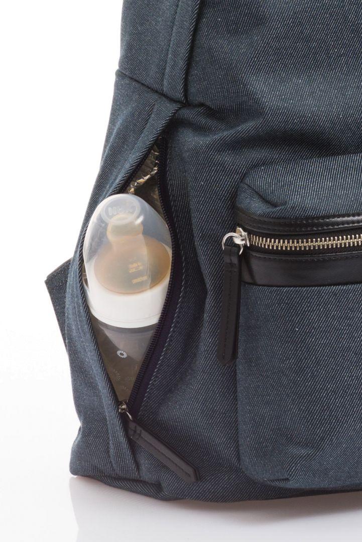 Diaper backpack, indigo denim