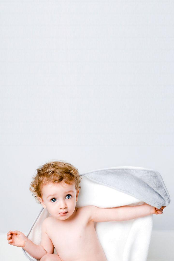 Hooded Baby Bath Towel grey