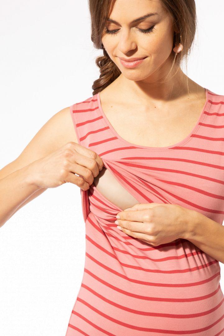 Midi Streifen Umstands- und Stillkleid aus Bio-Baumwolle rosa