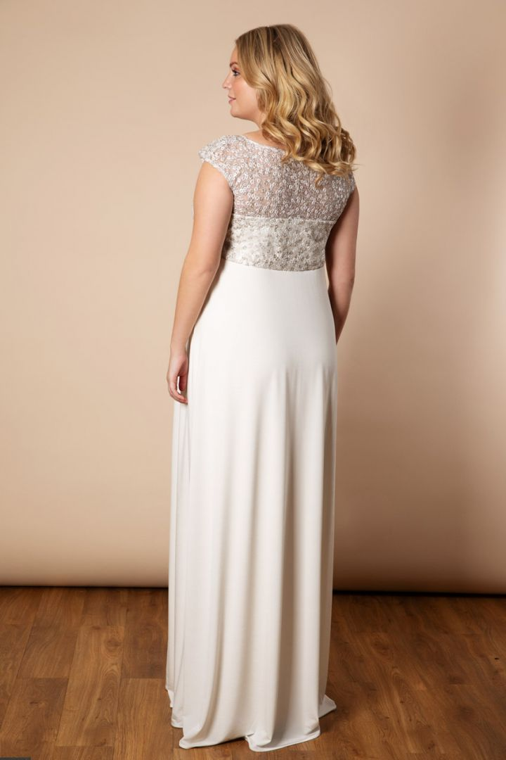 Maternity wedding dress with sequined top long Plus Size
