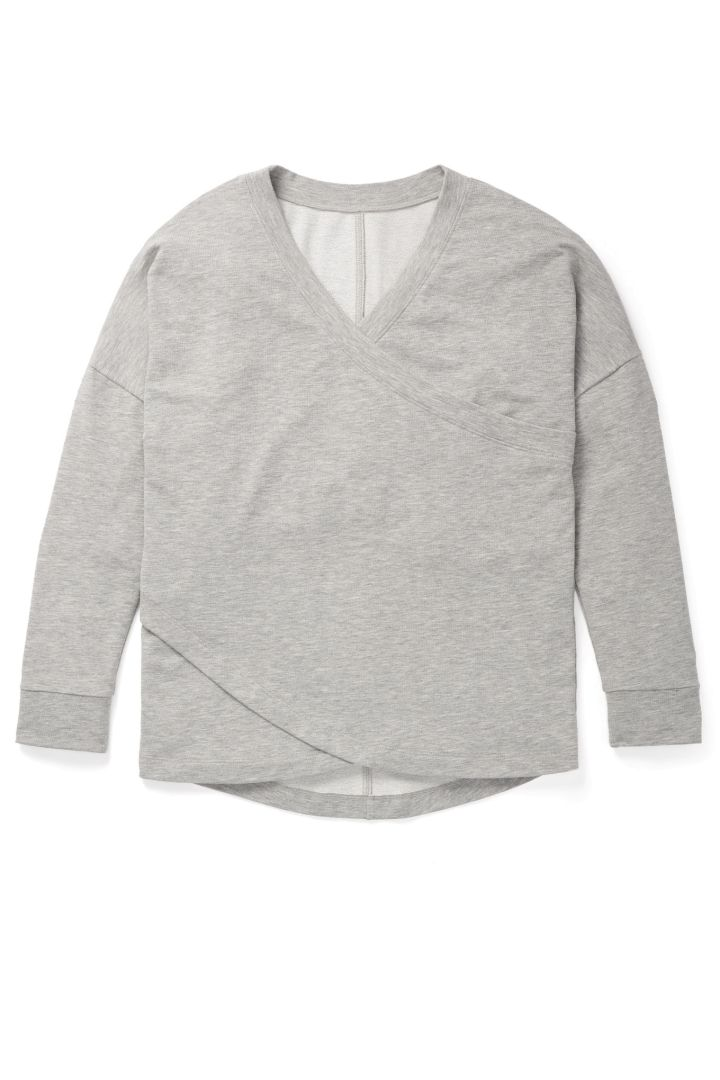 Cross-Over Maternity and Nursing Pyjama Shirt grey marle