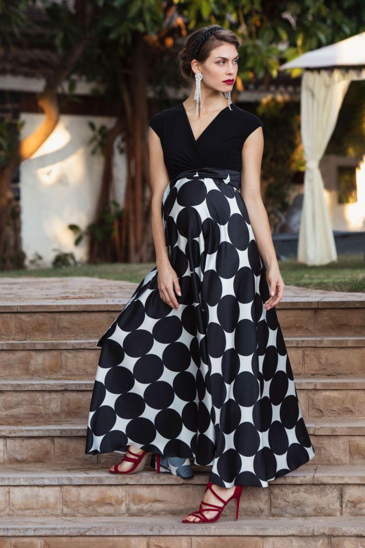 Polka Dot Umstands- und Stillkleid mit Satinrock