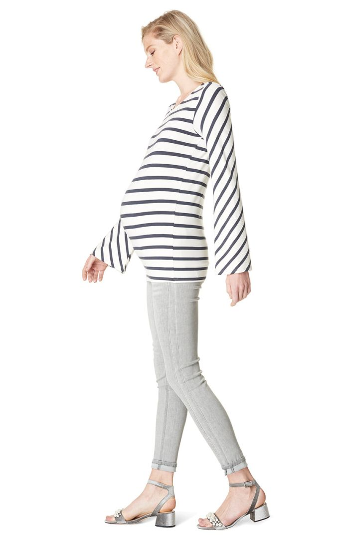 Maternity shirt with trumpet sleeves