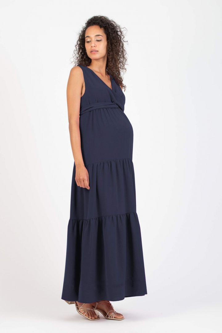 Maxi Maternity and Nursing Dress with Flounces navy