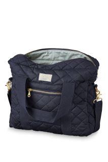 Gesteppte Wickeltasche aus Bio-Baumwolle navy
