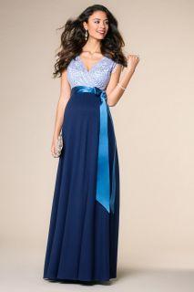 Vintage Rose Umstandskleid blau lang