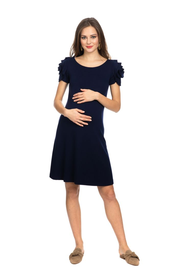 Maternity Dress with Blossom Decorated Sleeves