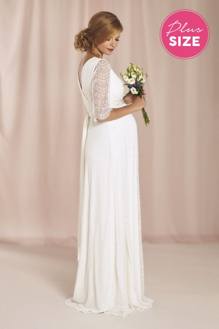 Maternity wedding dress with 3/4 length sleeves Plus Size