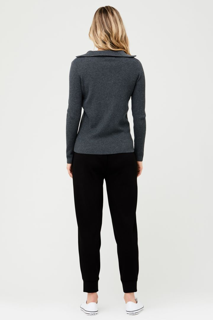 Maternity and Nursing Sweater in Ribbed Knit