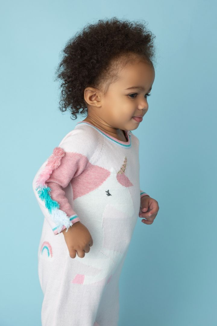 Knitted romper with unicorn motif