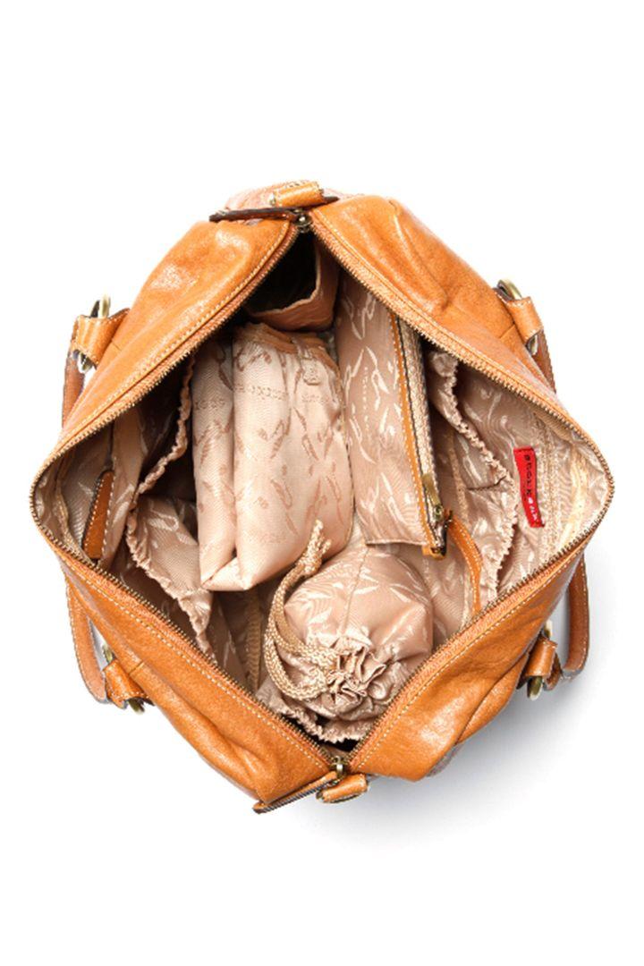 Elizabeth Leather Changing Bag Storksak cognac