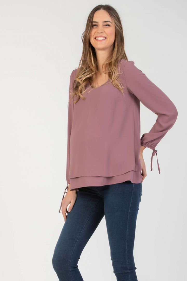 Layered Maternity and Nursing Blouse with Twisted Detail pink