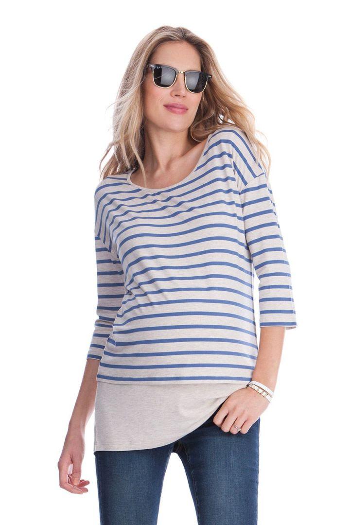 Zweilagiges Umstands- und Still-Shirt mit Streifen