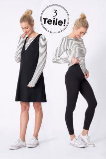 3-teiliges Set Umstandskleid, Streifenshirt und Leggings