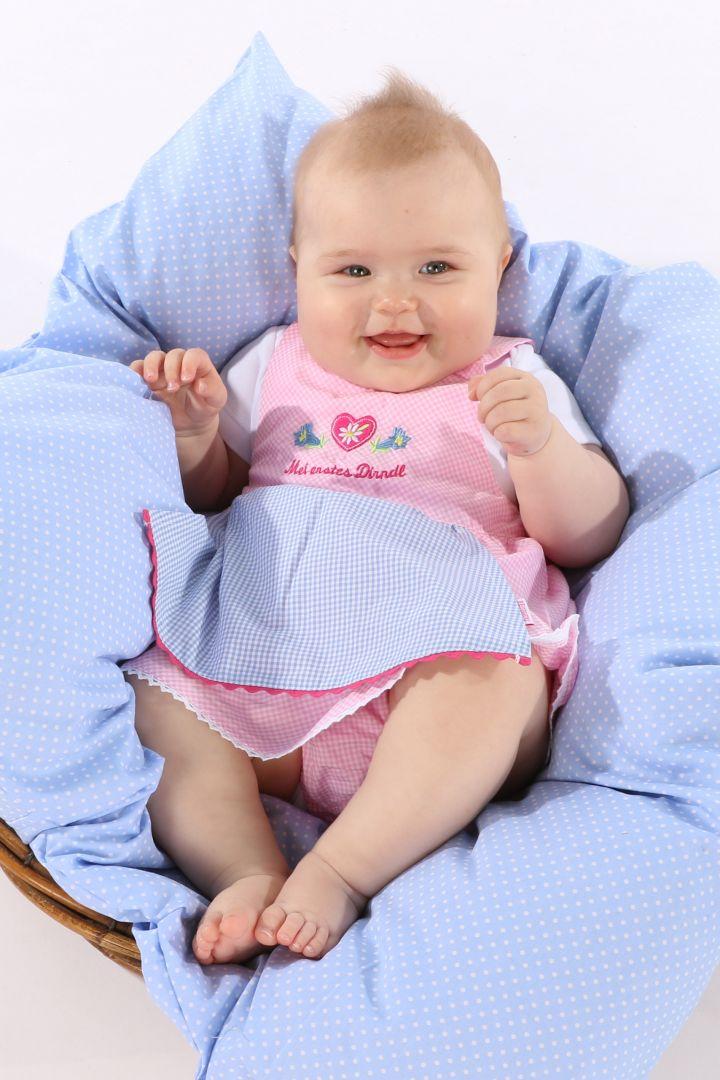 Baby's dirndl dress with pink/light blue briefs