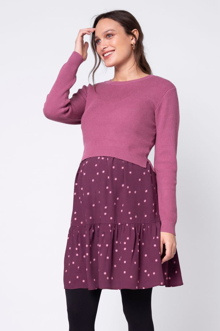 Maternity and Nursing Dress with Knitted Top
