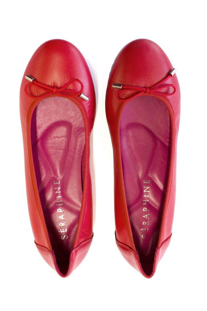 Ballerina mit ergonomischer Sohle rot