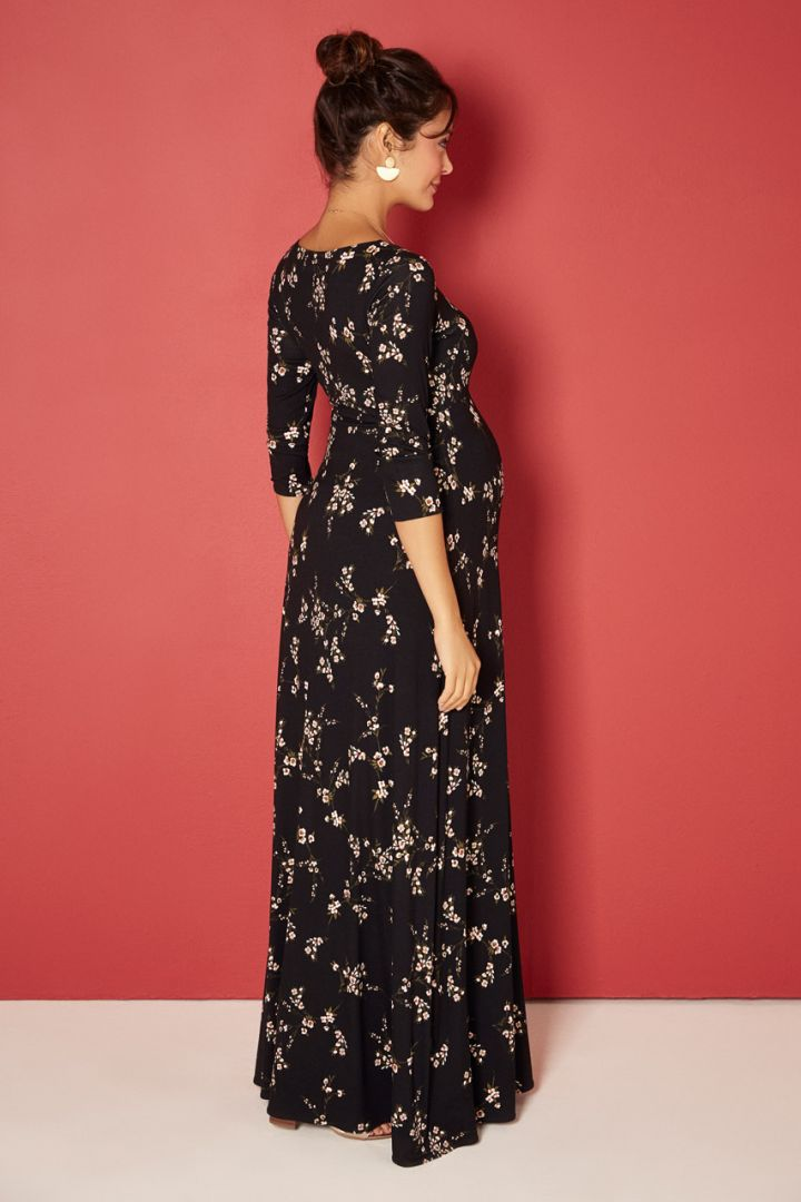 Night Blossom Print Maxi Maternity Dress