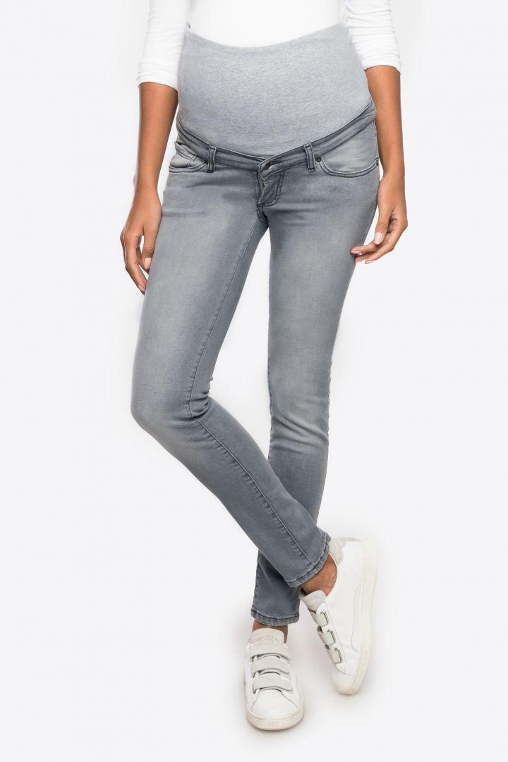 Slim Fit Umstandsjeans mit abnehmbarem Seamless Bauchband grau