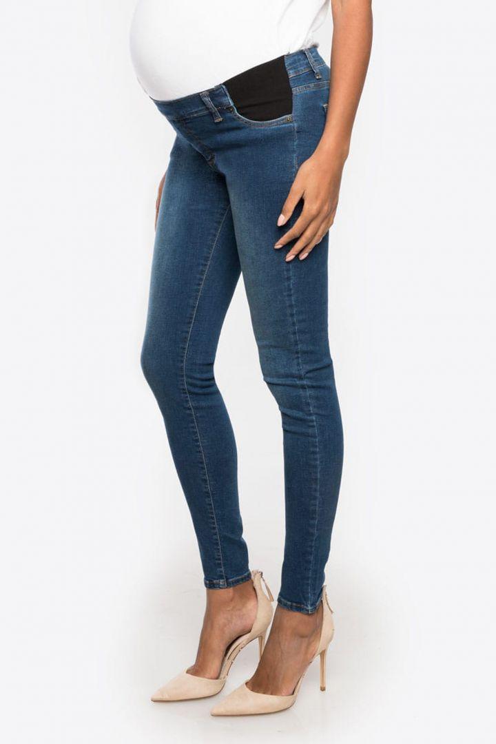 Slim Fit Underbump Maternity Jeans with Inset Panel denim